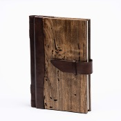Wood and leather notebook 15x21cm